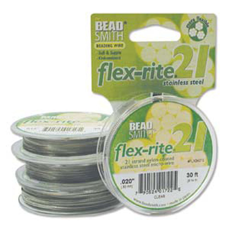 """21 Strand Clear Coated Flex Rite Beading Stringing Wire .020"""" 30'"""