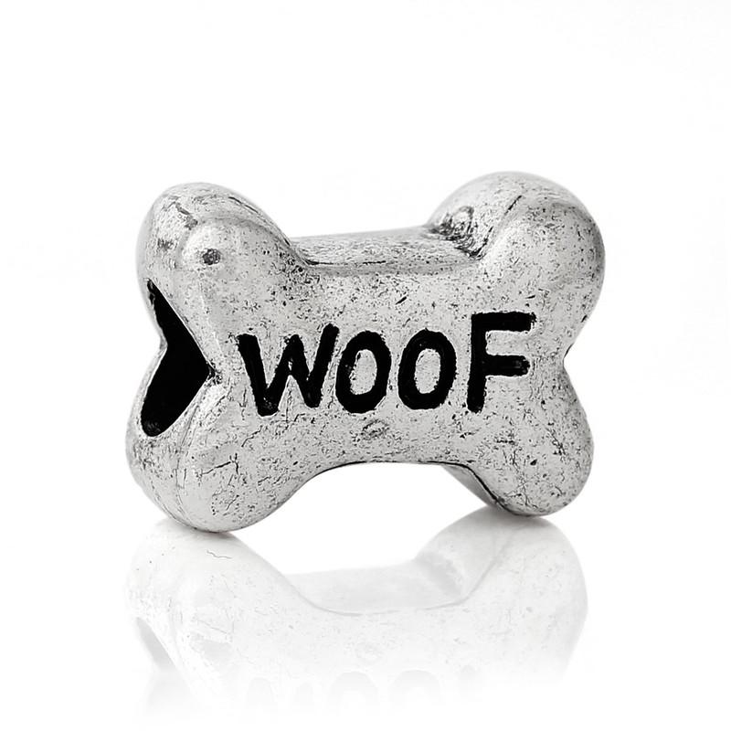 19 Woof Dog Bone Charm Beads 15x11mm with 4.5mm Hole