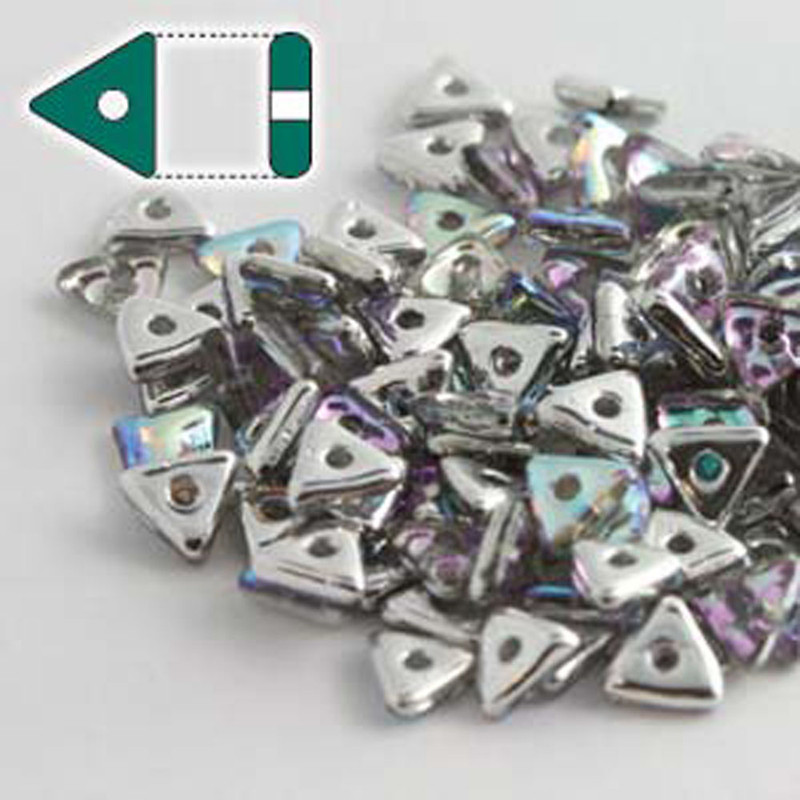 Crystal Silver Rainbow Czech Glass Sead Tri Beads 4.6mmx1.3mm Thick Approx 9gr Tube