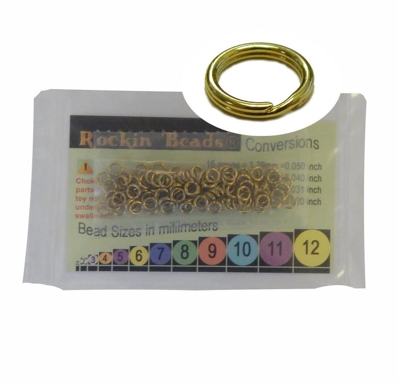 95 Split Ring  Lanyard, Dog Tag  Polished Brass 5mm USA