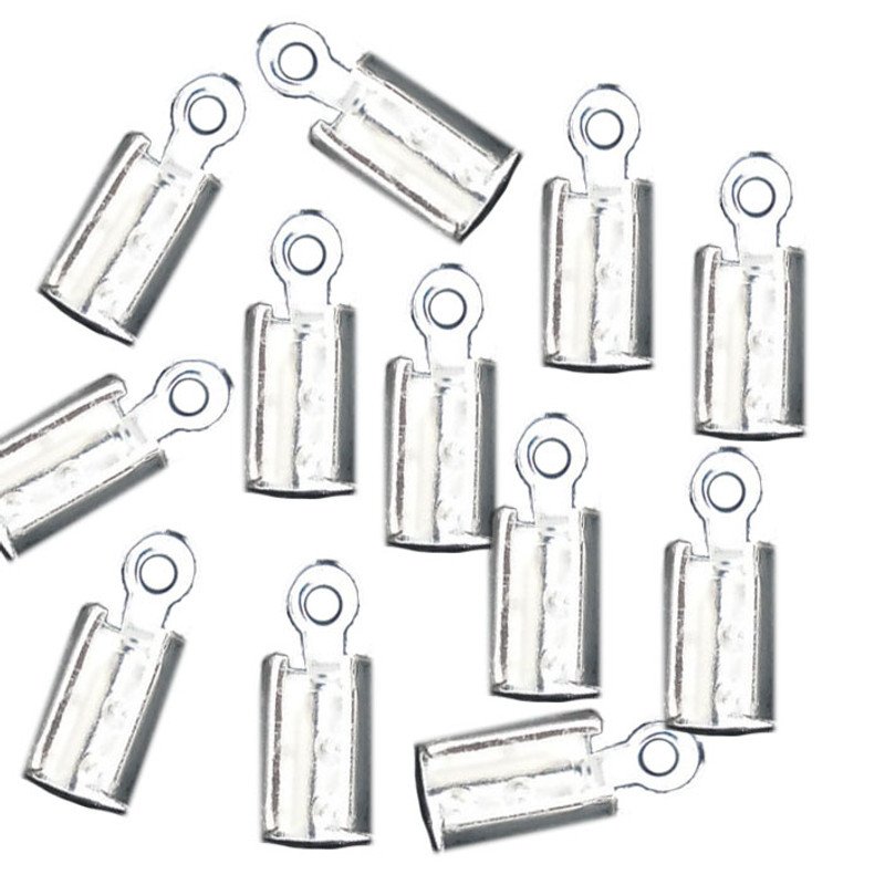 180 Cord End/tip Crimp Silver Plated Glue-in Style 10x4mm RB06636
