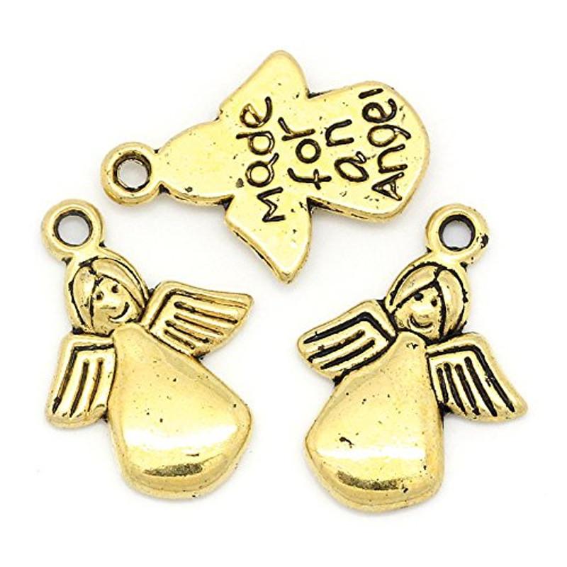 65 Gold Tone Angel Charm Pendants Beads 18x13mm