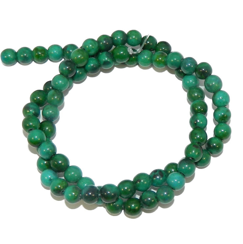 "6mm Azurite Chrysocolla Dyed  Round Beads 40cm 15""  Stone"