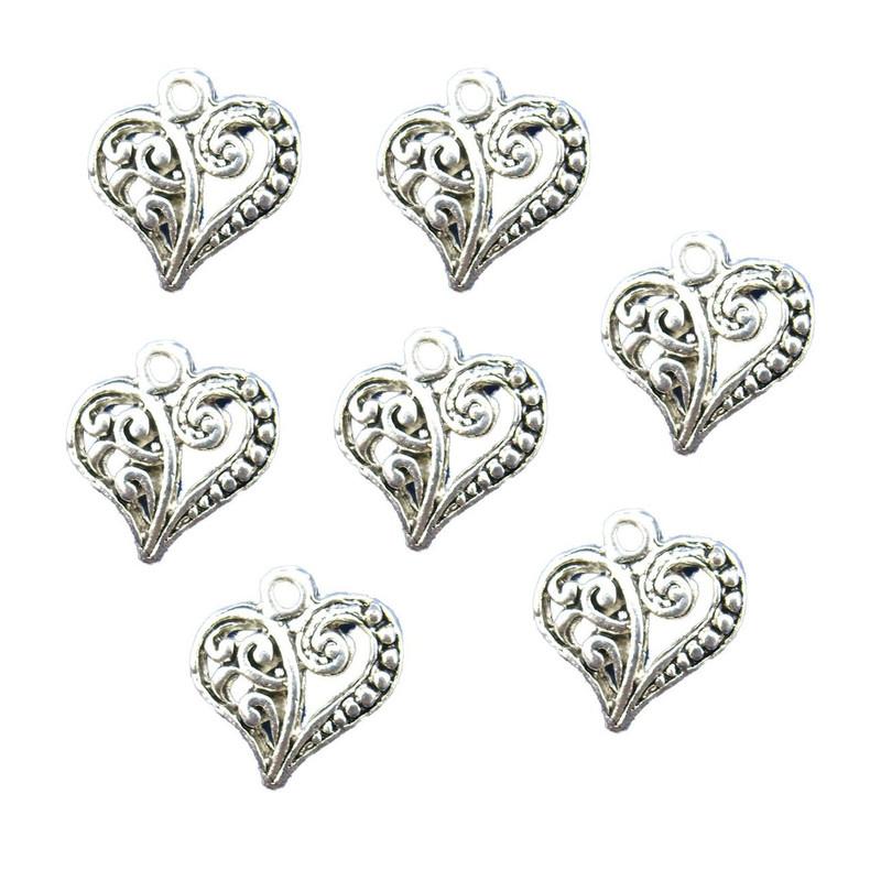 48 Charm Pendants Heart Antique Silver 14x13.5mm