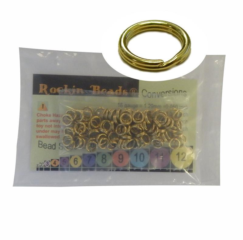 95 Split Ring  Lanyard, Dog Tag  Polished Brass 6.5mm USA
