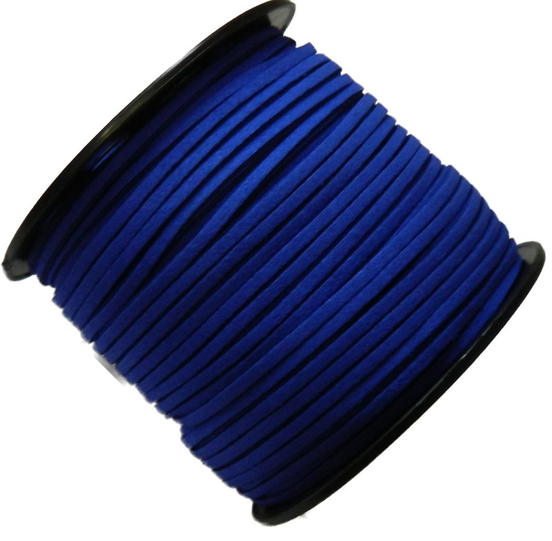 Blue Micro Fiber Faux Suede 3mm 90 Yard Spool Flat Lace Beading Craft Cord