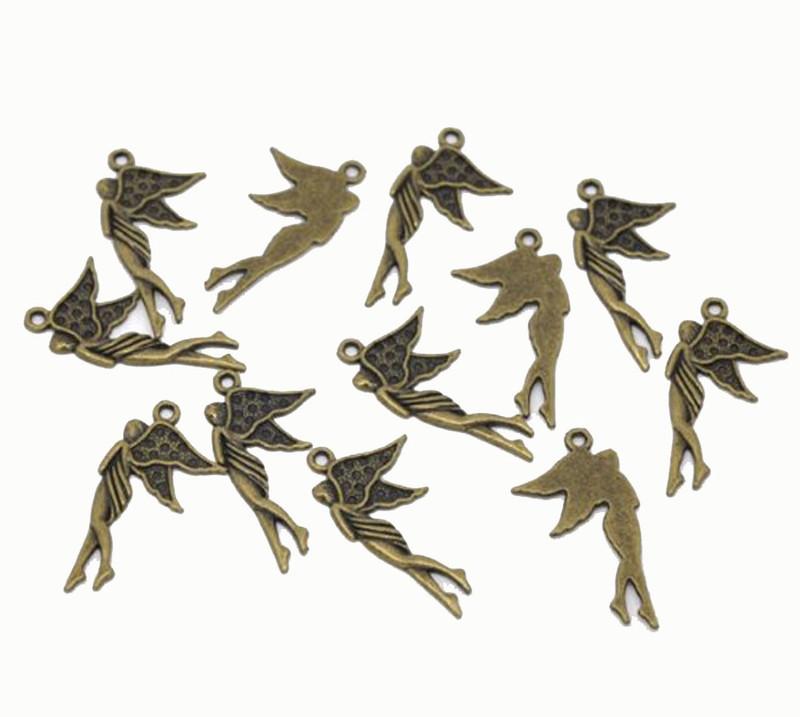 48 Antique Brass Zinc Alloy Angel Charm Beads Pendants 30x16mm RB14450