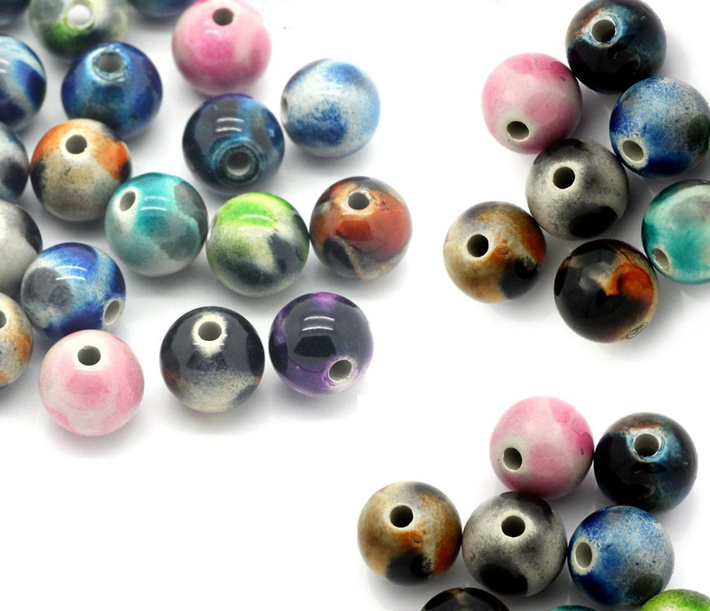 90 Random Acrylic Spacer Beads Ball At Random 12mm