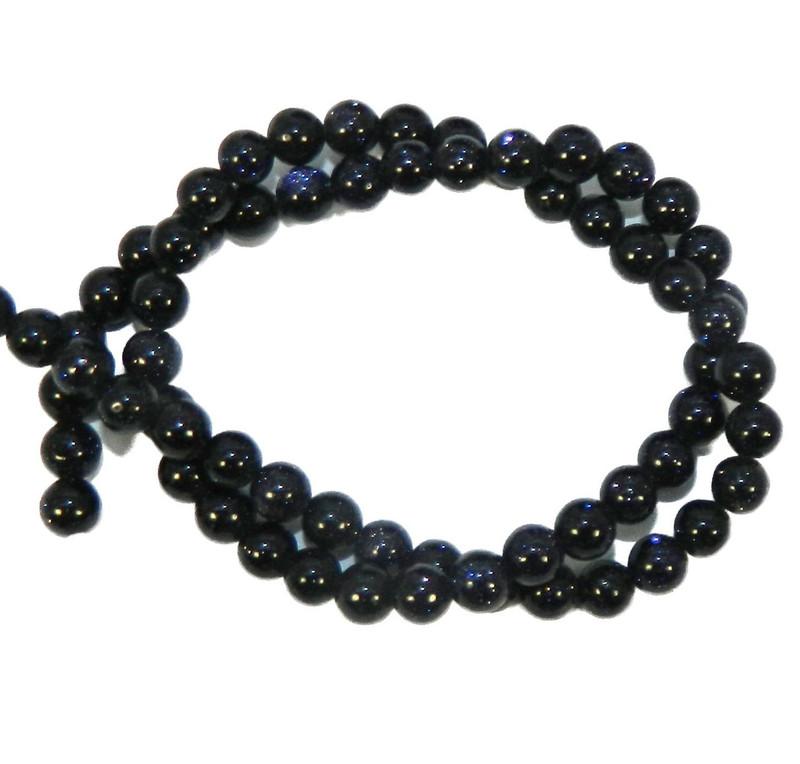"6mm Manmade Blue Goldstone  Round Beads 40cm 15""  Stone"