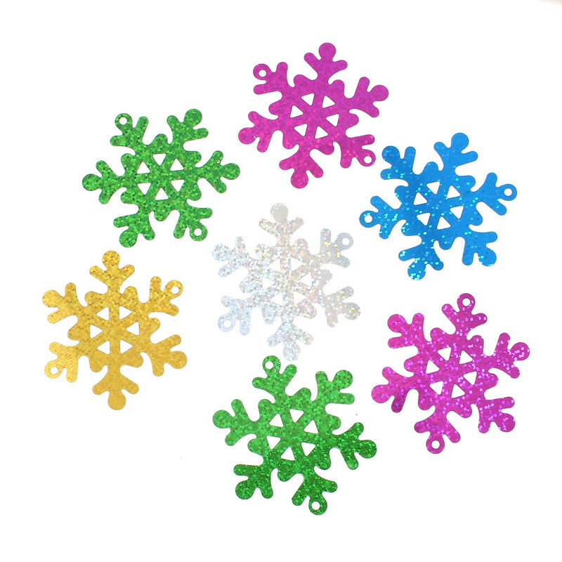 300 Randum Mix Snowflake Sequins for Sewing Card Making Poly Vinyl 63mm RB47938