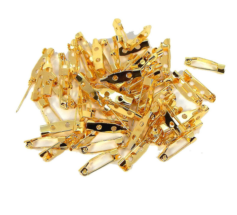 144 Bar 3/4 Inch 20mm Pin Backs Clasp Gold Plated Broach Name Badge Parts Z-G-101014201223-GP