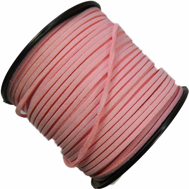 Pink Micro Fiber Faux Suede 3mm 90 Yard Spool Flat Lace Beading Craft Cord 2