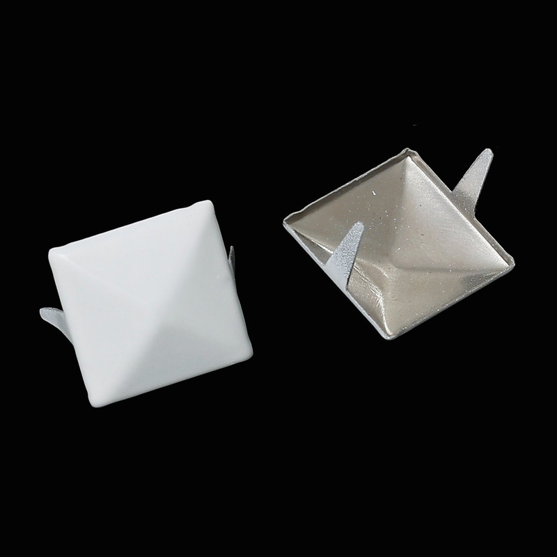250 Spike Rivets Studs Square Silver Tone Painted White 12mm 1/2 Inch