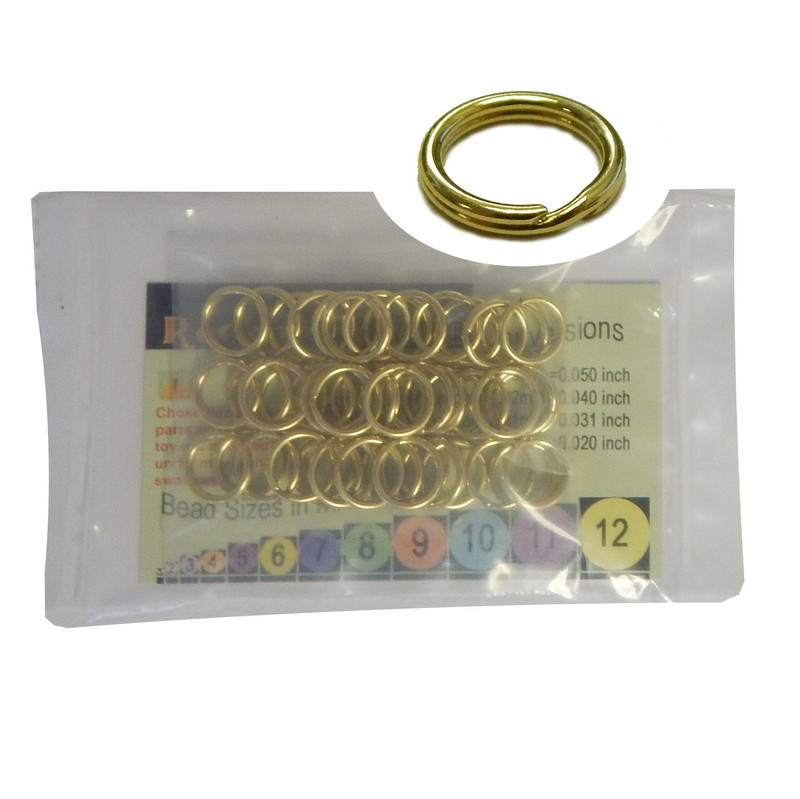 48 Split Ring  Lanyard, Dog Tag  Polished Brass 12mm USA