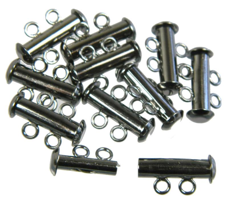 10 Pack Multi 2 Strand Slide Lock Clasps Black Oxide Gunmetal Plated Brass CLSP03BO