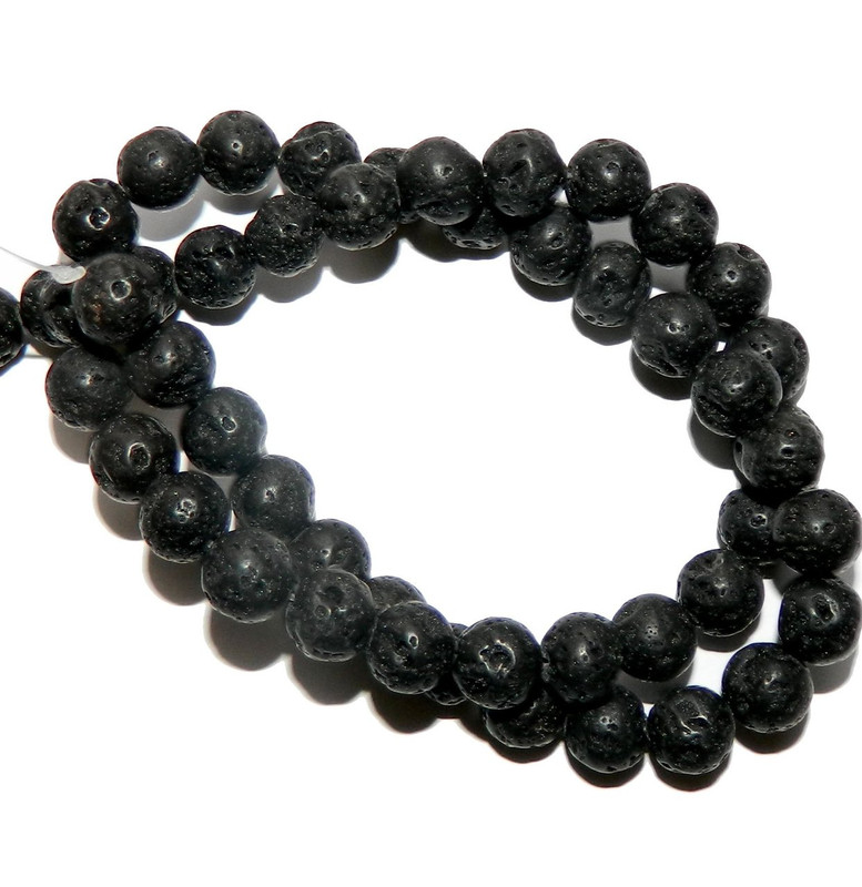 "8mm Volcanic Lava Rock Natural Round Beads 40cm 15"" Stone"