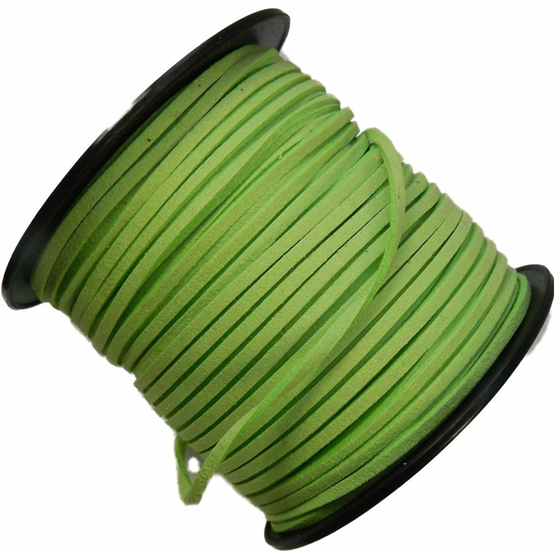 Bright Green Micro Fiber Faux Suede 3mm 90 Yard Spool Flat Lace Beading Craft Cord