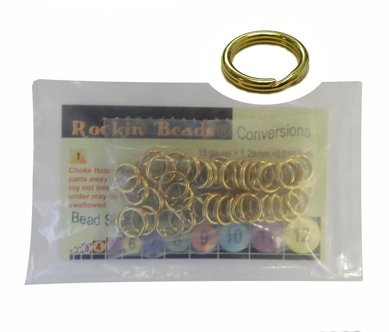 48 Split Ring  Lanyard, Dog Tag  Polished Brass 10mm USA