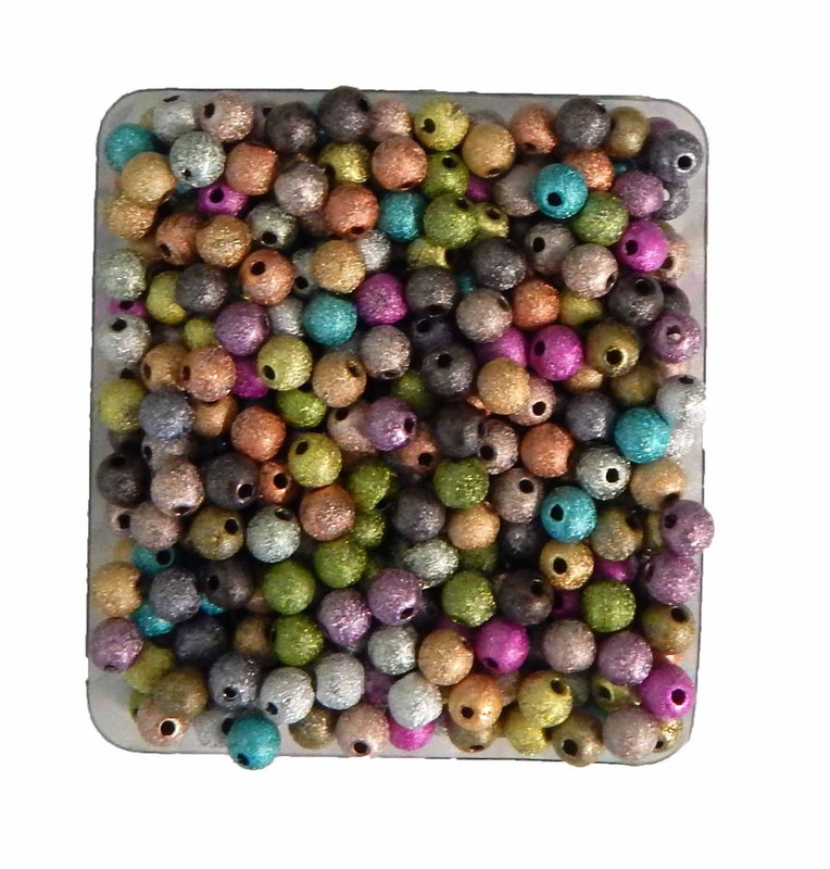 Mixed Acrylic Stardust Beads 6mm Package of 450 Spacer