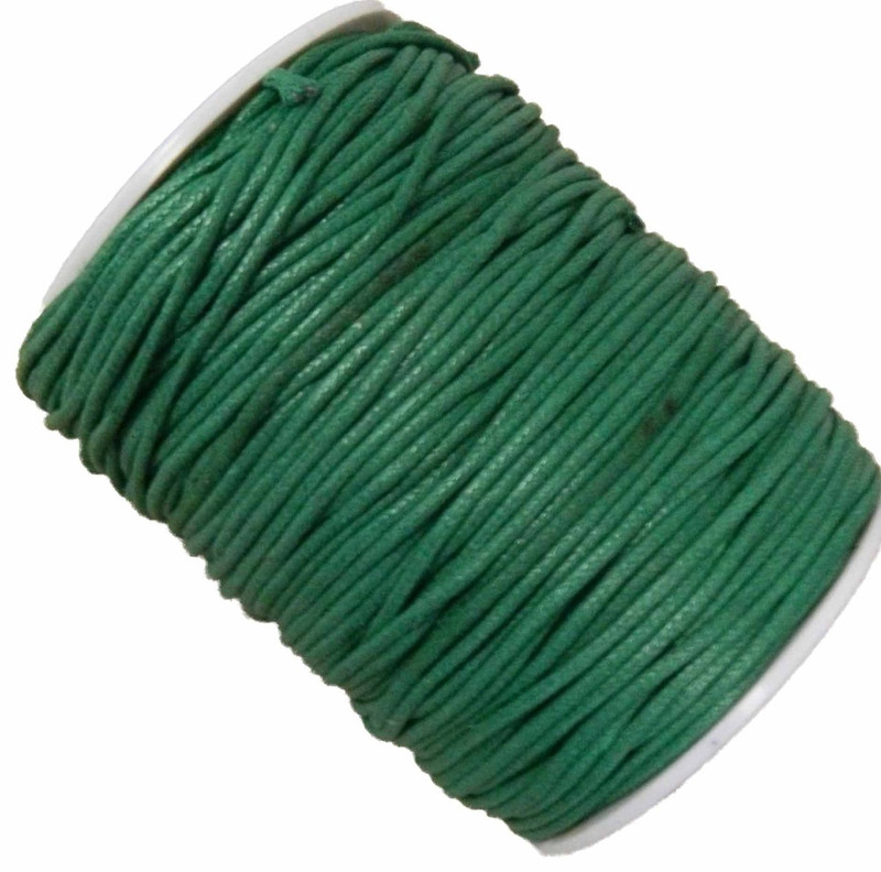 Green 1.5mm Waxed Cotton Jewelry Macrame Craft Cord 80 Yards Wolven Round