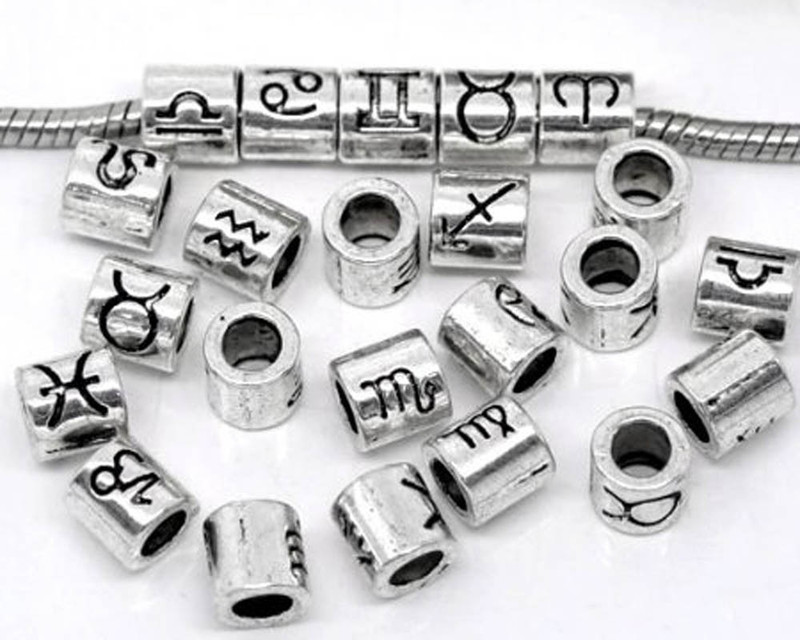 36  Silver Zodiac Spacer Beads Fit Easy Fit European Bracelet 7.5mm RB08327