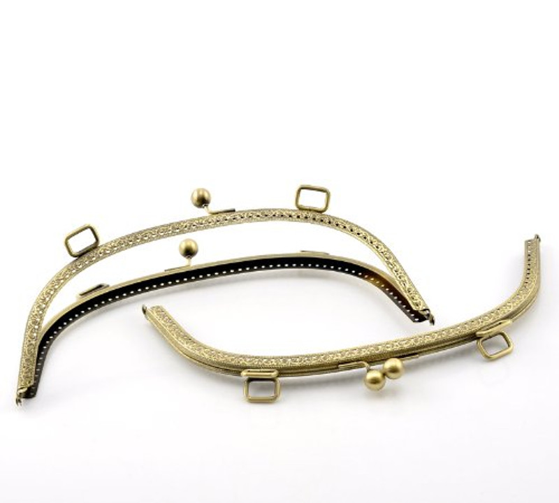 "1 Metal Purse Large 10x4 3/8"" Frames Snap Clasp Arch Pattern Antiqued Brass"