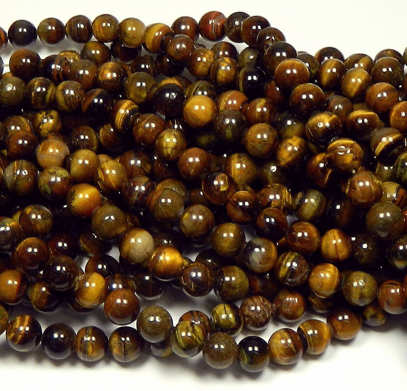 "10mm Tigereye Natural Round Beads 40cm 15"" Stone"