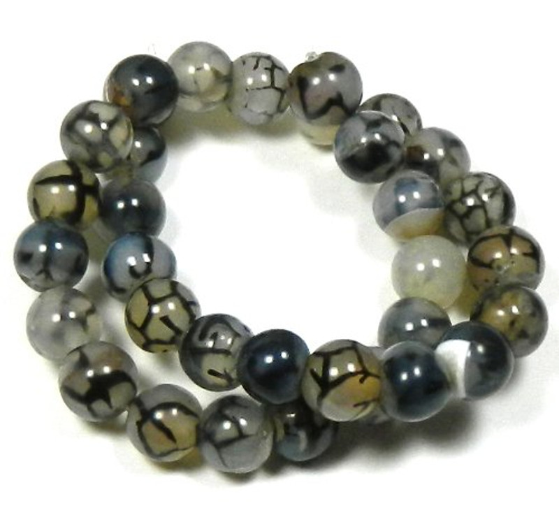 "12mm Spider Agate Round Beads 40cm 15"" Stone"
