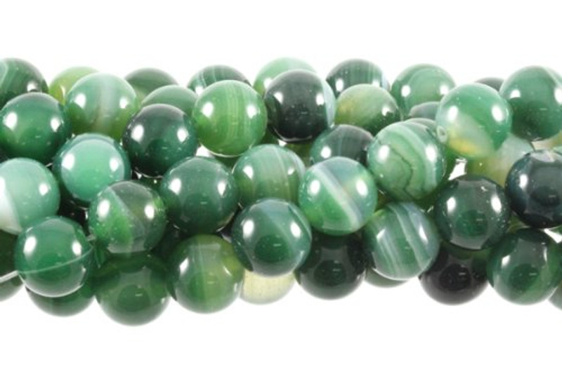 """12mm Green Striped Agate Round Beads 40cm 15"""" Stone"""