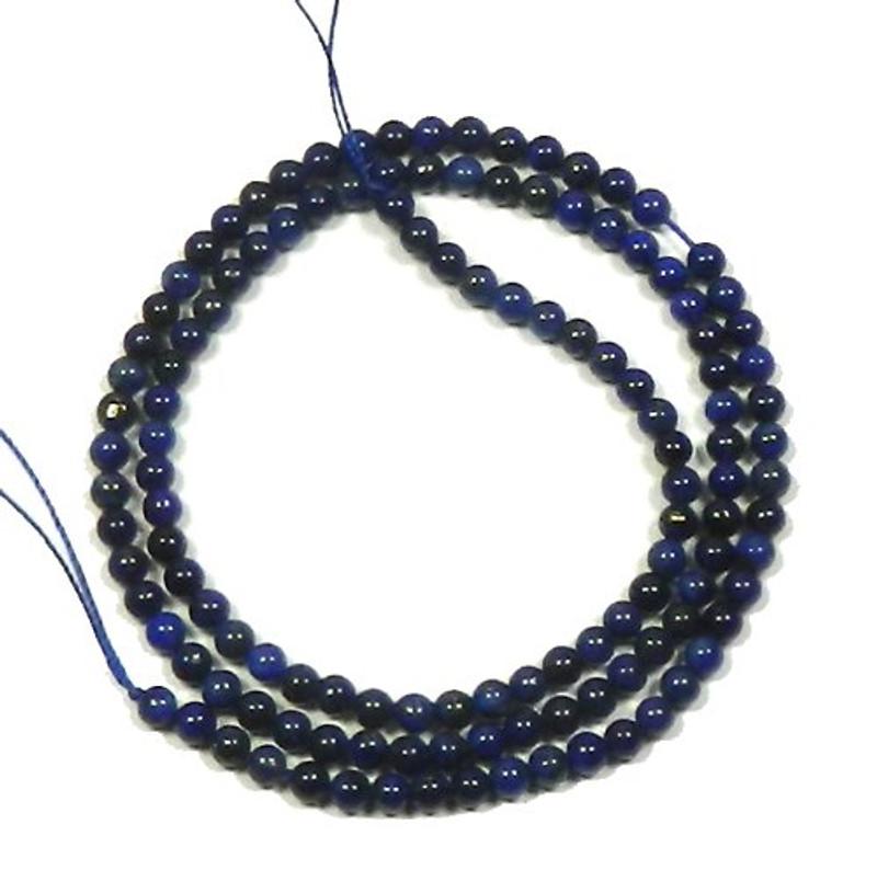 "3mm Lapis Lazuli Round Beads 40cm 15"" Stone"