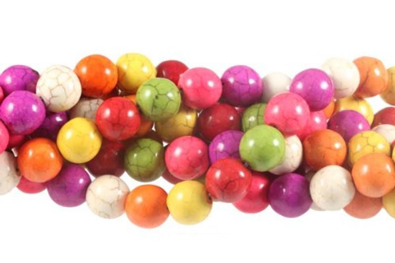 """12mm Magnesite Dyed MixedWhite Buffalo  Round Beads 40cm 15""""  Stone"""