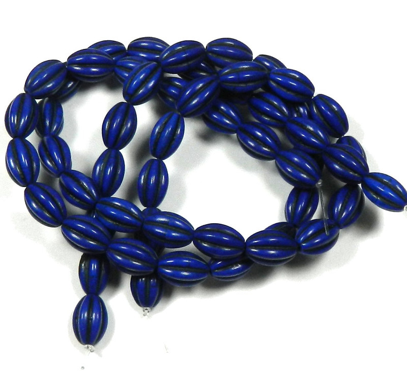 10x14mm Oval Chalk Turquoise Dyed/Stabilized Lapis Blue  Beads 30""