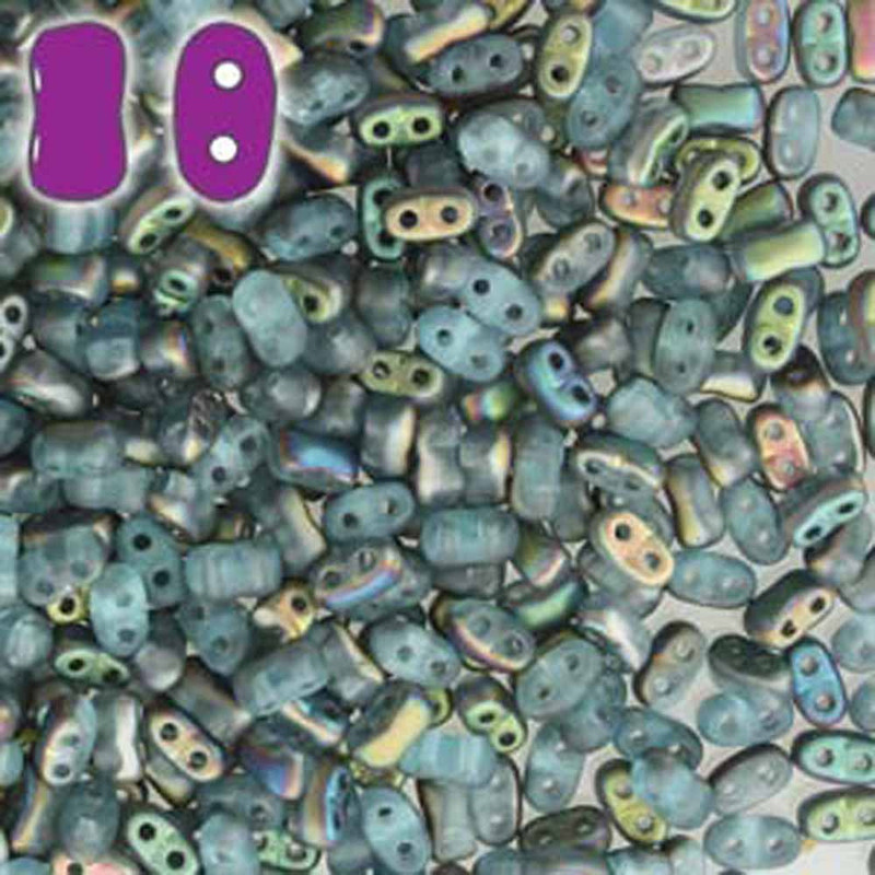Aqua Vitrail Matte BI-BO Czech Glass 2 hole Seed Beads 5.5x2.8mm 22gr