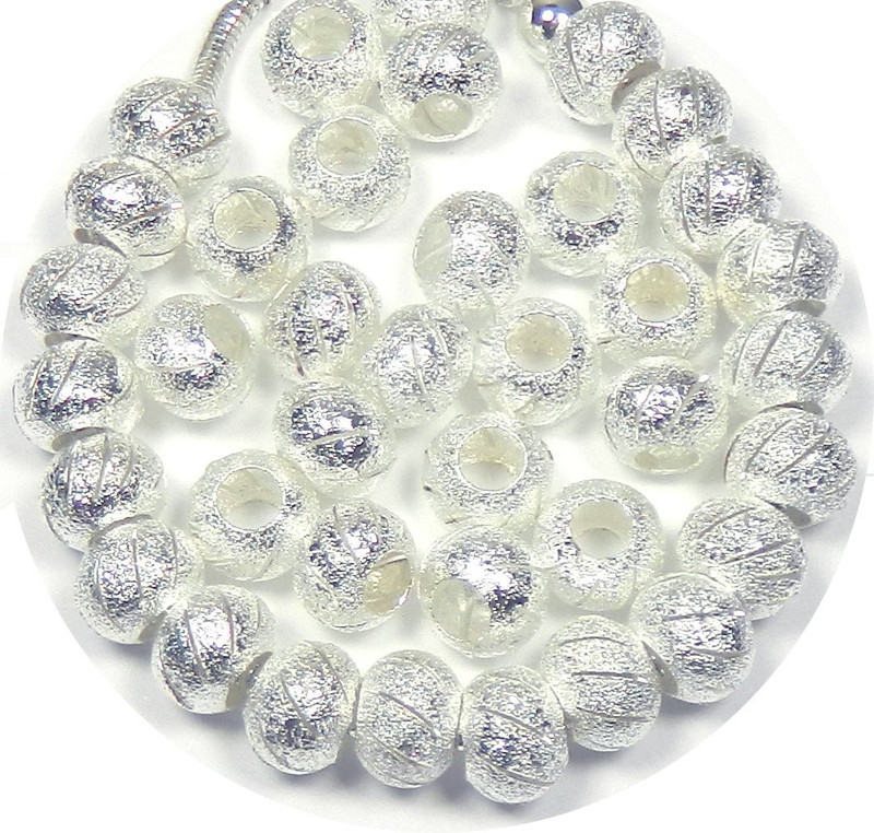 40 Beads Stardust Cut Lace Beads Large 5mm Hole Shiny Silver European Charm