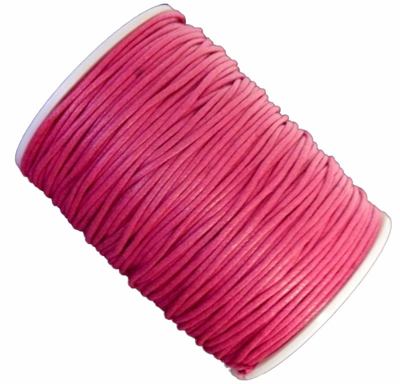 Dk Pink 1.5mm Waxed Cotton Jewelry Macrame Craft Cord 80 Yards Wolven Round