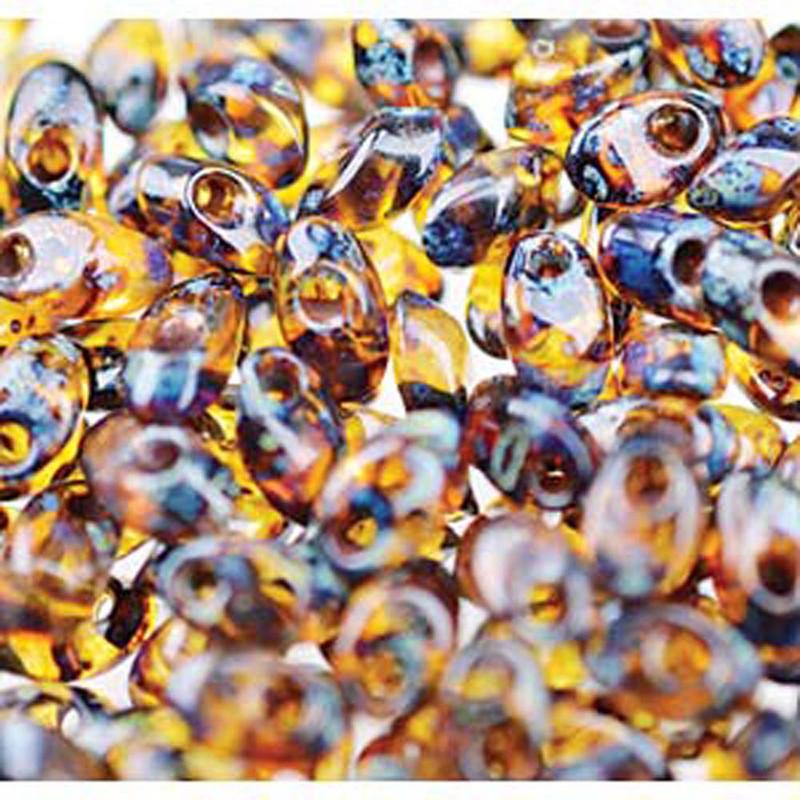 Picasso Dark Amber 100 grams 4x7mm Miyuki Long Magatama Glass Fringe Beads