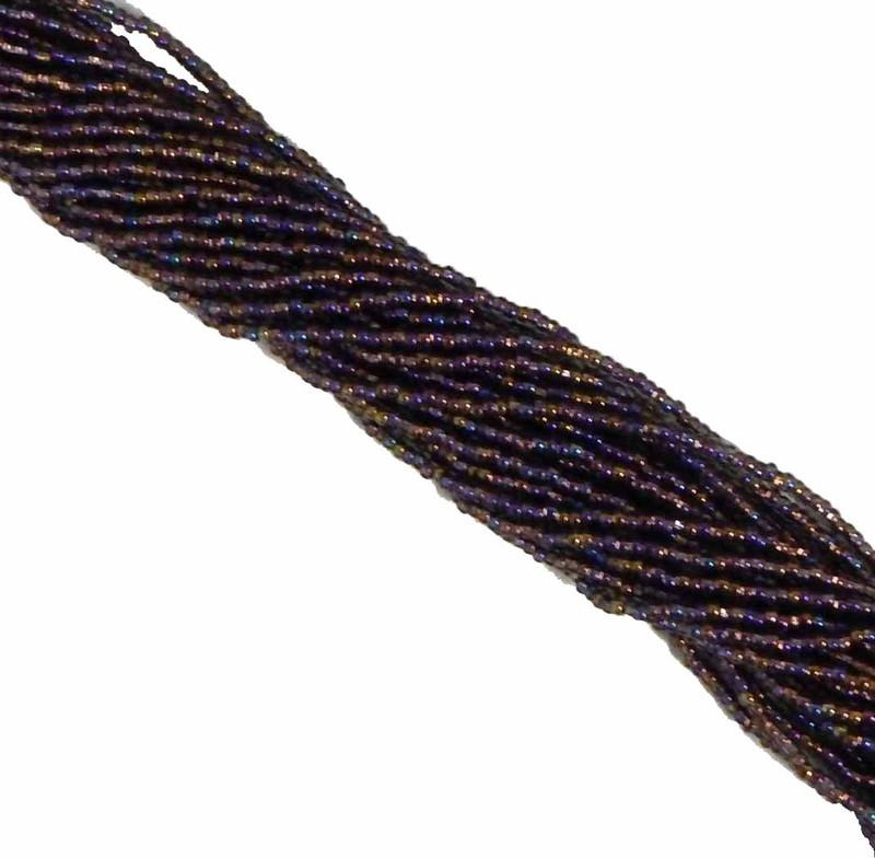 Black Diamond (Smoke) Copper Lined AB Czech 11/0 Glass Seed Beads 6 string hank SB1149019