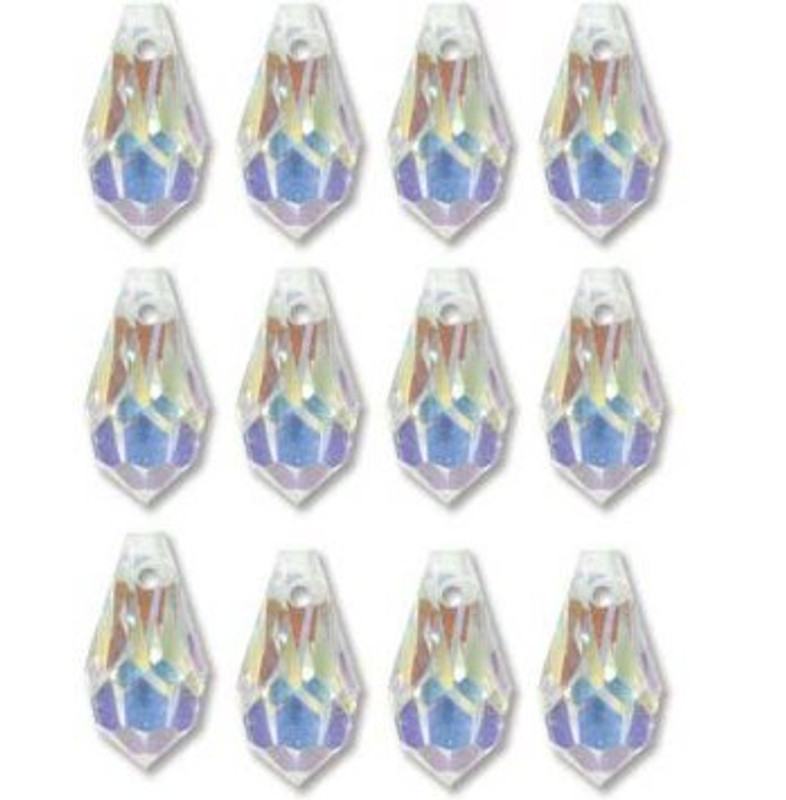 9x18mm Preciosa Czech Crystal Ab Faceted Drop Clear Beads 498 51 984 Package of 12