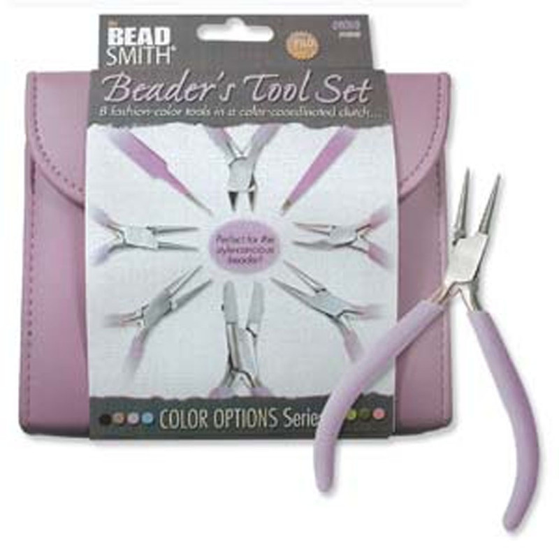 Beadsmith 8 Fashion Orchid Color Tool Set for Making Jewelry +Clutch Carry Case PLFAS03