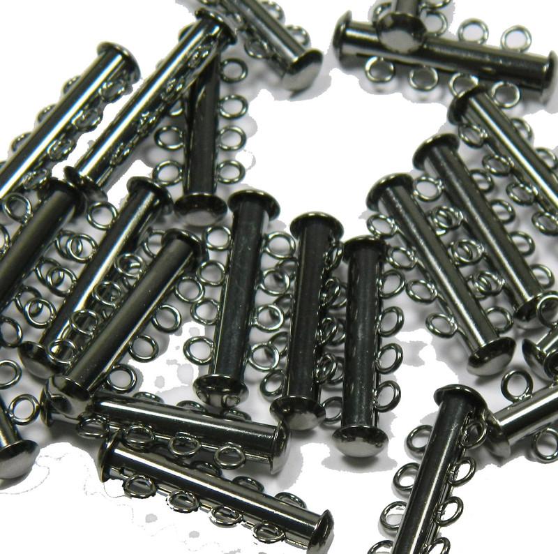 10 Pack Multi 4 Strand Slide Lock Clasps Gunmetal Black Oxide Plated Brass CLSP21BO