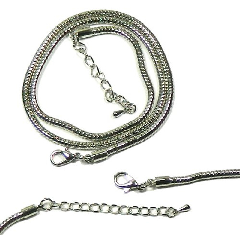 2 Pack 17 1/2 Inch 3mm Thick Snake Chain with Extetion Chain Steel Tone RB01641