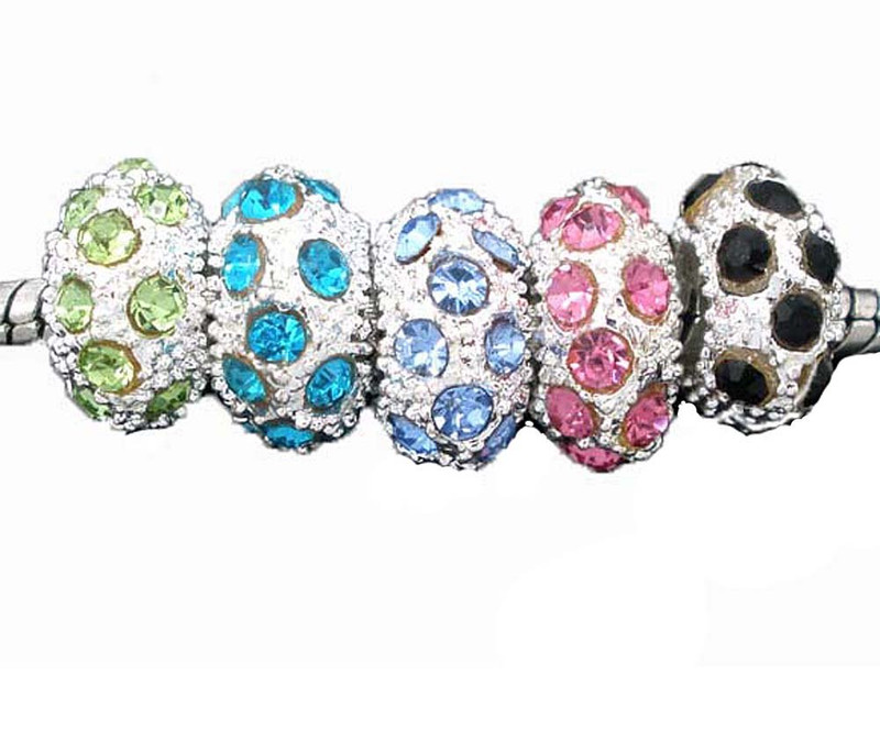 20 Rhinestone Silver Plated Metal Rondelle Spacer Beads 10x6mm Mix Crystal Stones 4.5mm Hole Fit European Style Chain