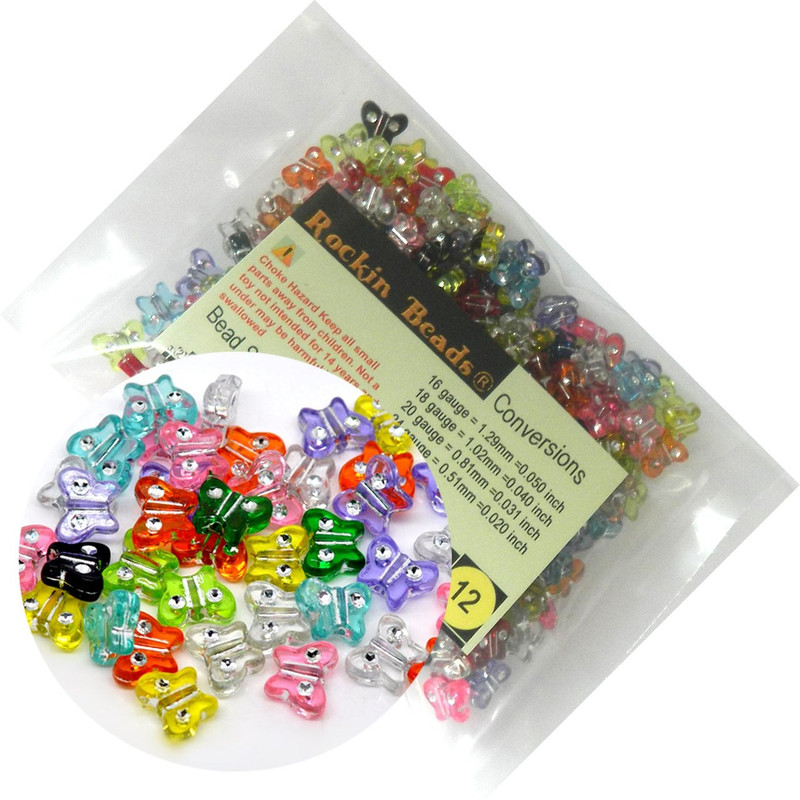 280 Mixed Acrylic Butterfly with Rhinestone Spacer Beads 11x9mm (1mm Hole) RB11623-280