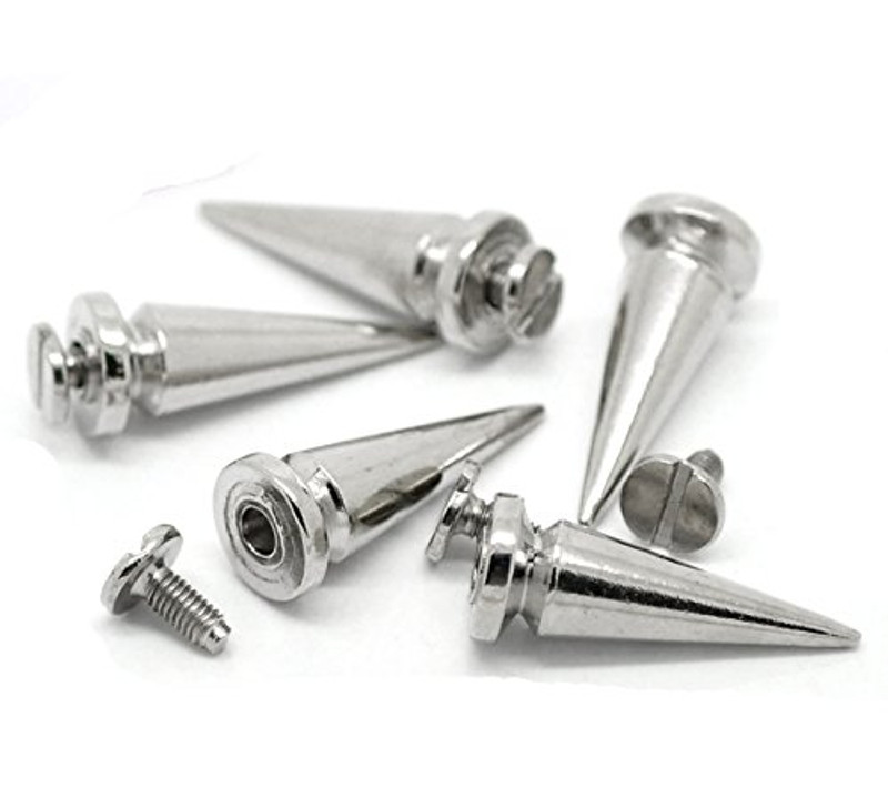 19 Sets Steal Tone Cone Screw on Spike Rivet Studs 25x8mm 1 Inch Spike Punk Gothic or Leather Work