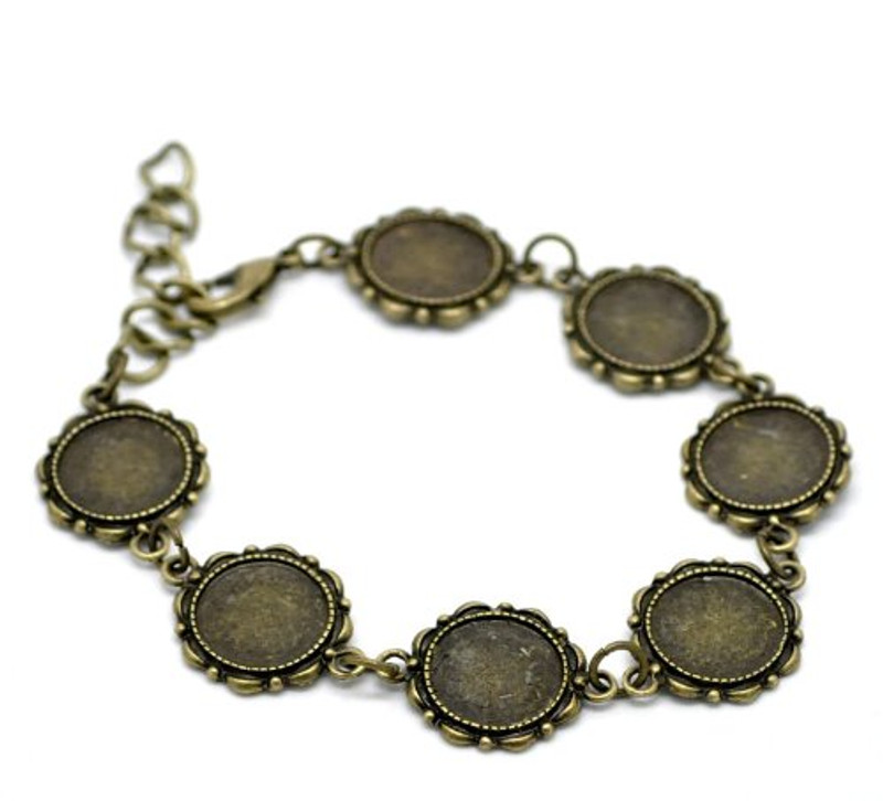 2 Antiqed Brass Round Fits 14mm Cabochons Setting Disk Bracelets 8""