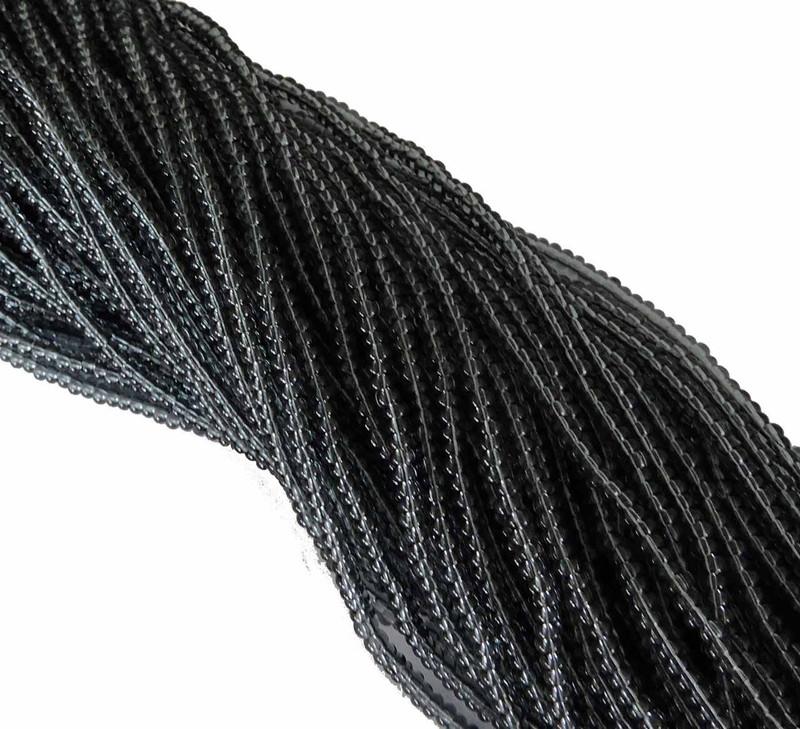 Black Diamond (Smoke) Transparent Preciosa Czech Glass 6/0 Seed Bead on Loose Strung 6 String Hank SB6-40010