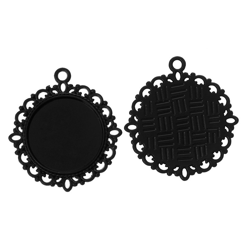 10 Black Plated Zinc Round Cabochon Setting Pendant 32mm Fit 20mm Cab