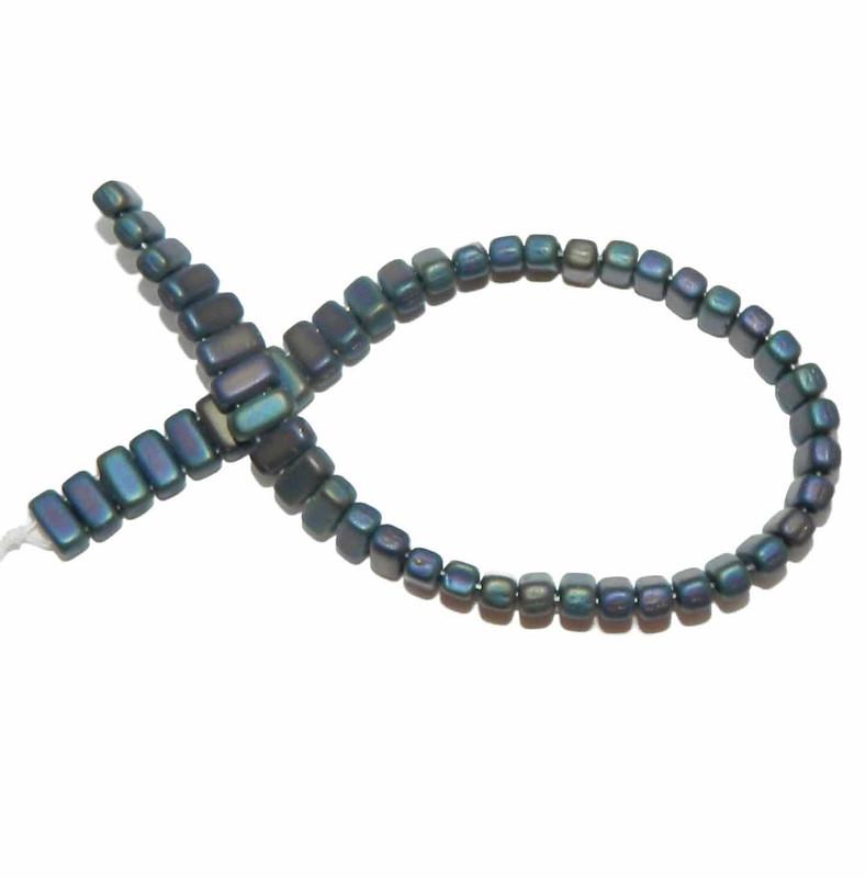 Iris Blue Matte Brick 3x6mm Square Glass Czech Two Hole 50 Tile Beads
