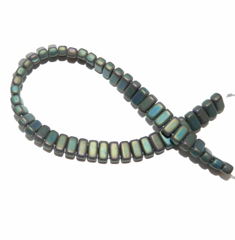 Iris Green Matte Brick 3x6mm Square Glass Czech Two Hole 50 Tile Beads