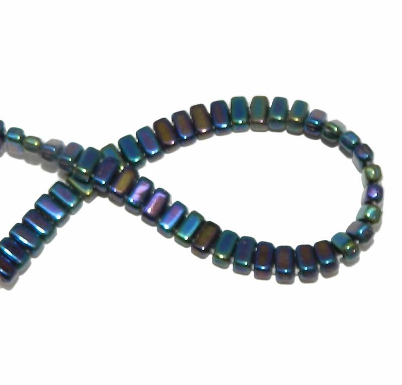 Iris Blue Brick 3x6mm Square Glass Czech Two Hole 50 Tile Beads